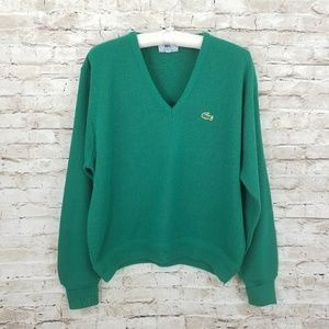 Lacoste vintage v neck sweater L green